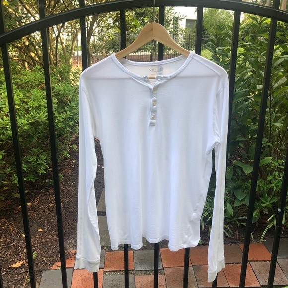 Vince Small White Long-Sleeve Cotton Henley Tee